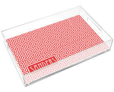 Poppy Red Greek Key Large Lucite Tray by Jonathan Adler