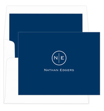 Navy Circle Initials Foldover Note Cards