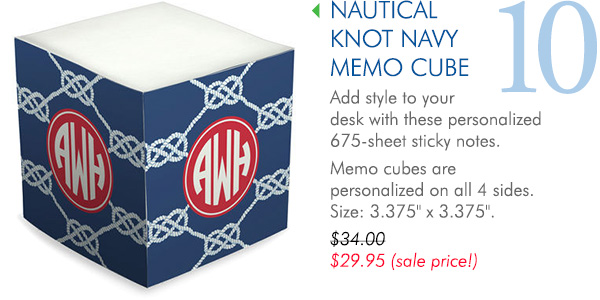 Nautical Knot Navy Sticky Memo Cube