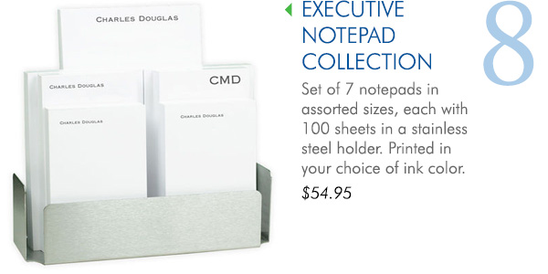 Executive Notepad Collection with Stainless Steel Holder