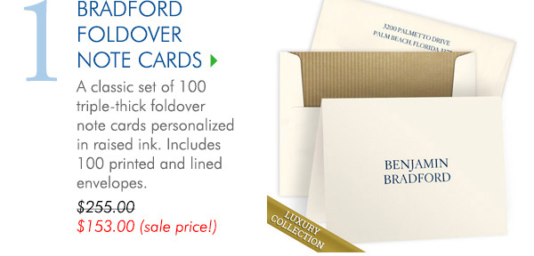 Luxury Bradford Foldover Note Card Collection on Triple Thick Stock