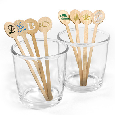 Plan the perfect summer soiree with these personalized drink stirs.