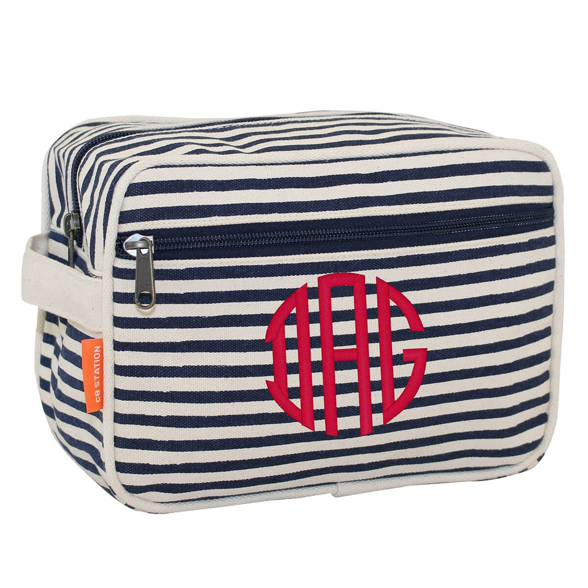 Personalized Navy Stripes Canvas Travel Bag