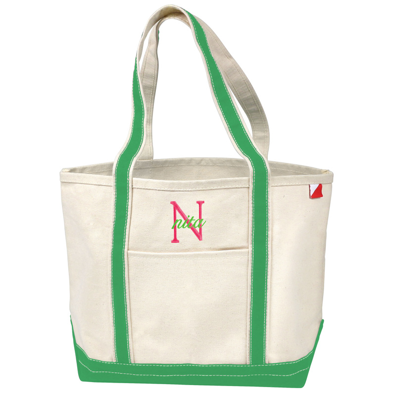 Nantucket Deluxe Tote Bag with Kelly Green Trim