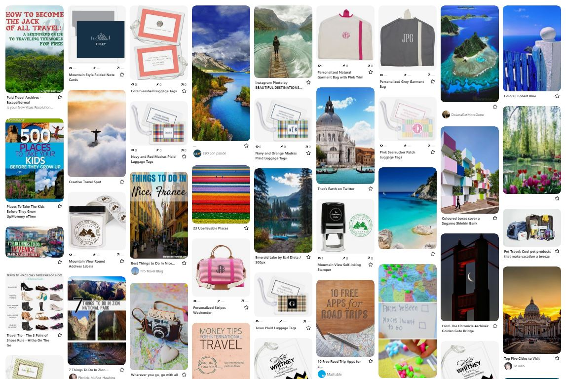 Pinterest Travel Board