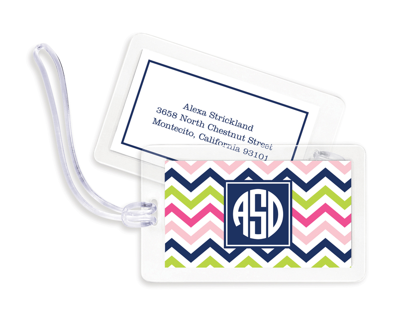 Pink Navy and Lime Chevron Luggage Tags
