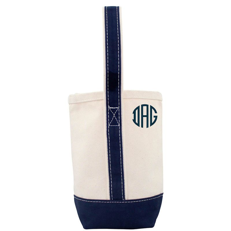 Personalized Navy Trimmed Wine Tote