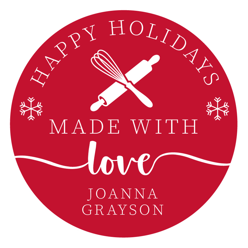 Holiday Made with Love Round Gift Stickers
