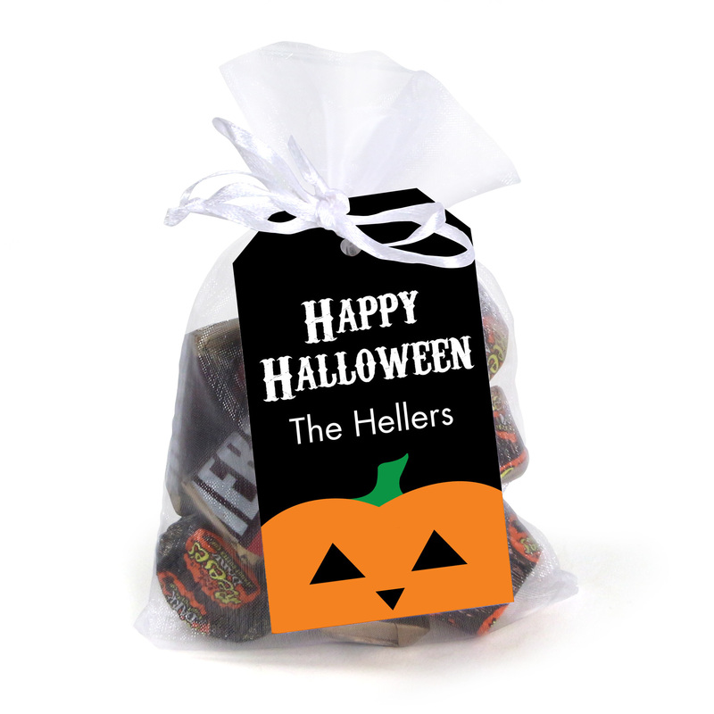 Halloween Pumpkin Hanging Gift Tags with Organza Bags